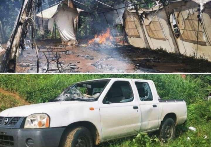 Ilegales queman carpa y auto de Fuerza Pública