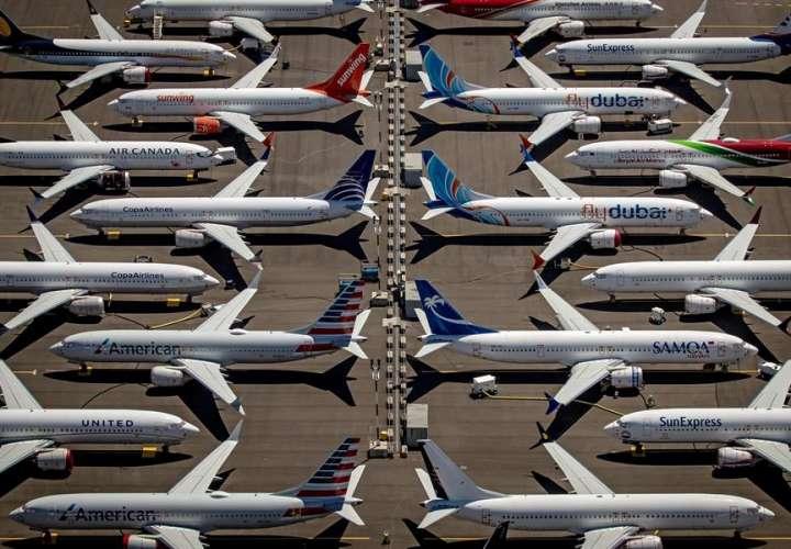 Vista de varios Boeing 737 Max 8 en Seattle, Washington. EFE/Gary He/Archivo