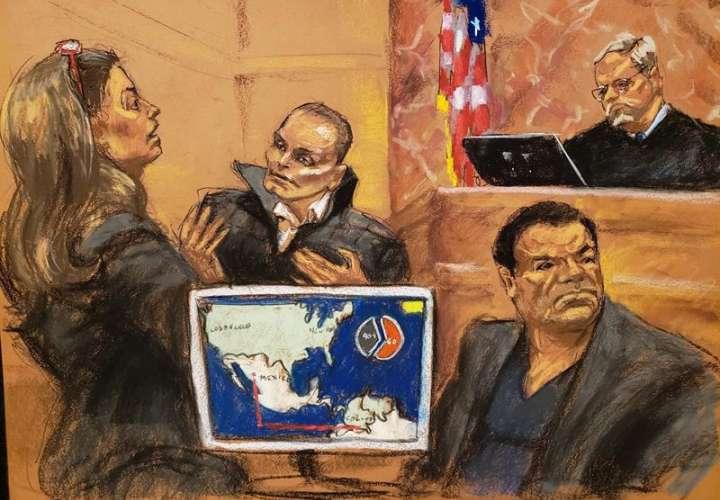 Reproducción fotográfica de un dibujo realizado por la artista Jane Rosenberg del juicio de Joaquín 'El Chapo' Guzmán. EFE