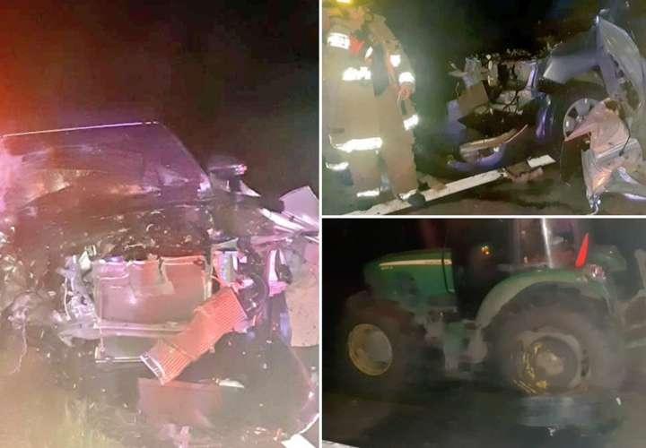 Zampó la camioneta que conducía contra un tractor en Los Santos