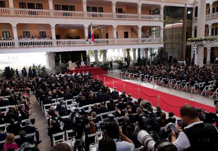 El papa Francisco pronuncia un discurso este jueves en el Palacio Bolívar, sede de la Cancillería en la Ciudad de Panamá (Panamá). EFE