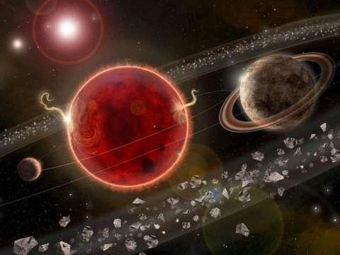 Fotografía cedida por la revista 'Science Advances' de una representación artística del sistema planetario Próxima Centauri, con el exoplaneta recién descubierto, ''Próxima c (d)''; y el planeta hallado en 2016, ''Próxima b (i)''.