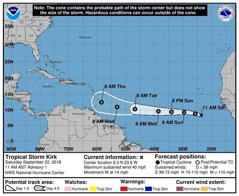 pronóstico de tres días de la tormenta tropical Kirk, durante su avance hacia el oeste en el Atlántico desde las costas de África. EFE/NHC