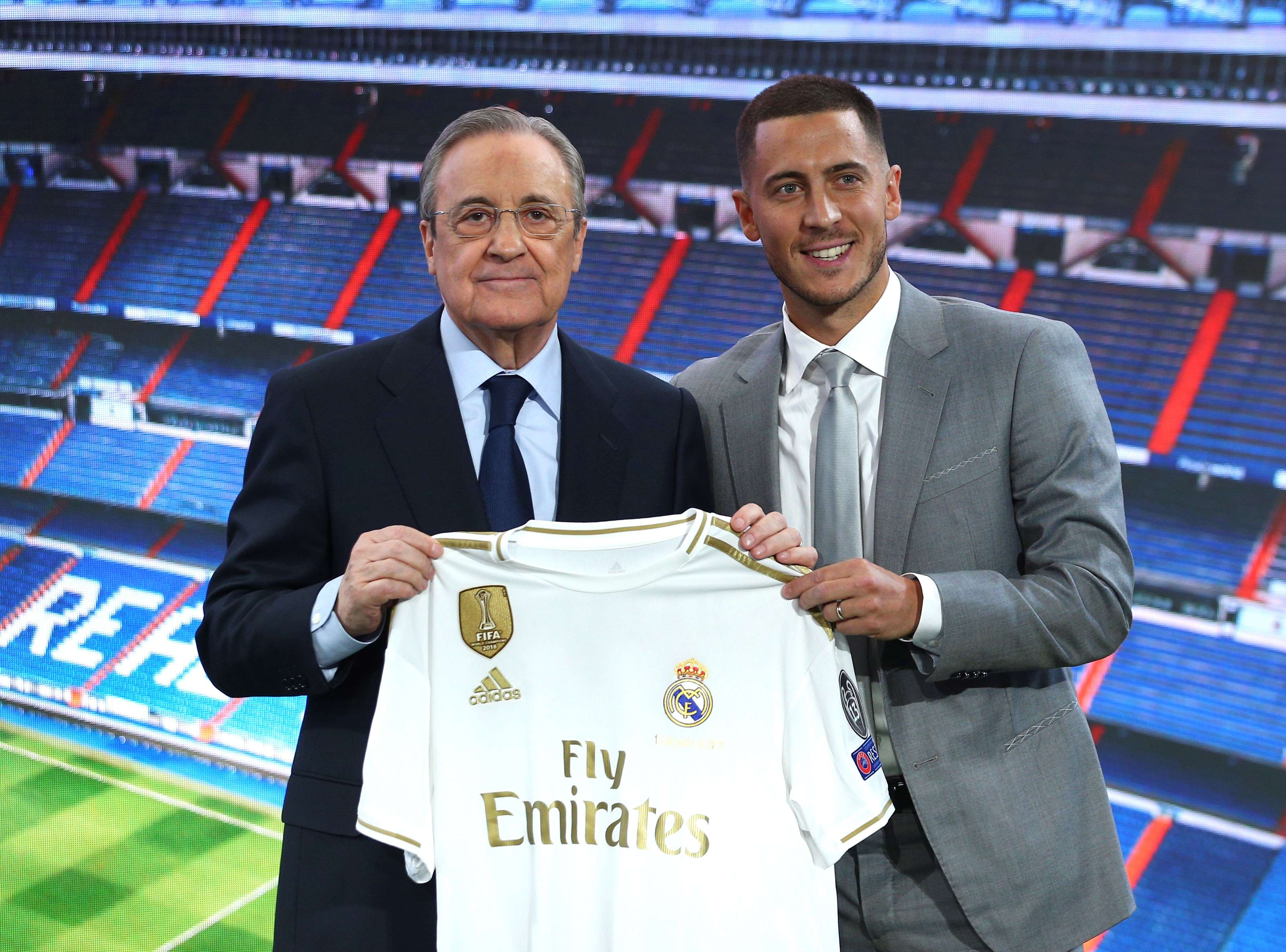 Eden Hazard y Florentino Pérez / EFE