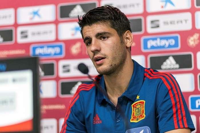 El delantero Álvaro Morata durante la rueda de prensa luego de su regreso con la selección de España./EFE
