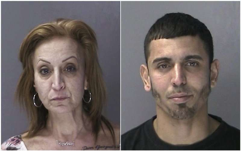 En la imagen Angela Reilly y Carlos García, este último acusado de robos en dos tiendas de teléfonos celulares, dos tiendas de delicatessen y una lavandería. y la mujer de conductora durante los escapes. AP