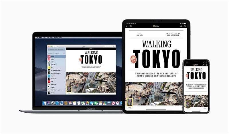 Imagen que muestra las pantallas de varios dispositivos de la compañía de tecnología Apple en las que aparece el nuevo servicio, Apple News+, este lunes en Cupertino, California (Estados Unidos). EFEApple Inc.