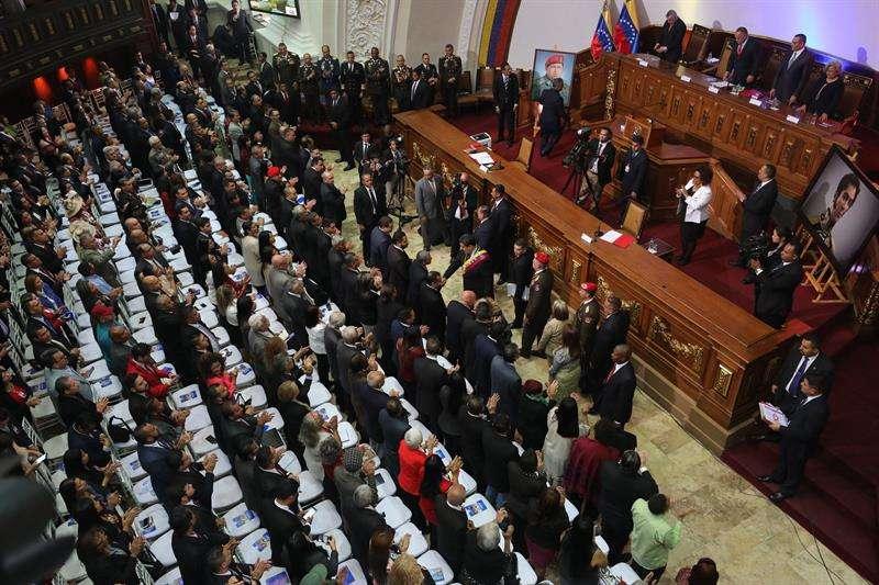 Vista general de la sesión del foro Constituyente hoy, en la que el presidente de Venezuela, Nicolás Maduro, rinde cuentas sobre su mandato en 2018. EFE