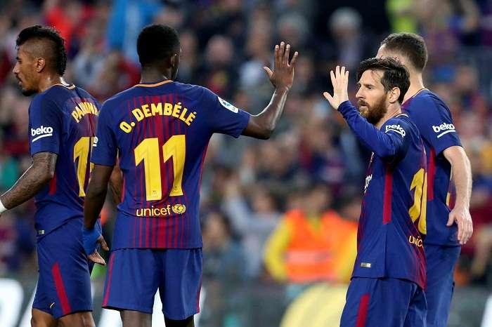 Lionel Messi celebra el tercer gol de su equipo ante el Villarreal. /EFE