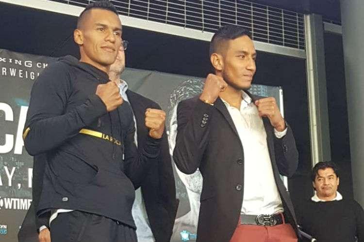 """Bryan De Gracia (izq.) y su rival, el mexicano Eduardo """"Zurdito"""" Ramírez. Foto: Cortesía"""
