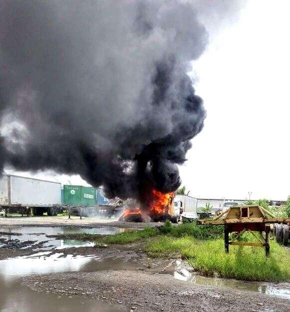 Vista general del incendio en Colón. / Captura de video