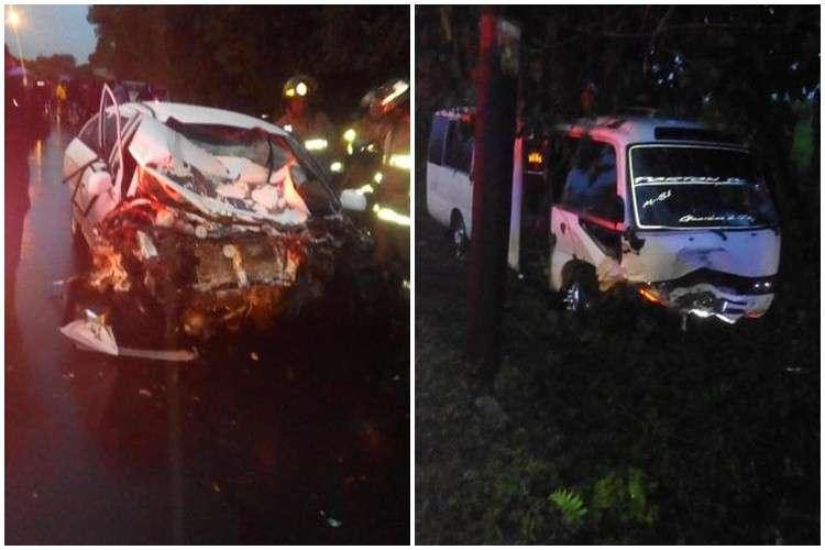 Vista de los daños en la carrocería de los vehículos involucrados en el accidente. Foto: WhatsAppCri