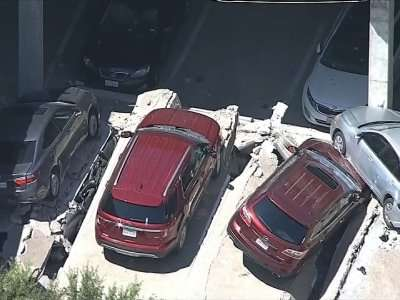 Vista general de la playa de estacionamiento afectada. AP