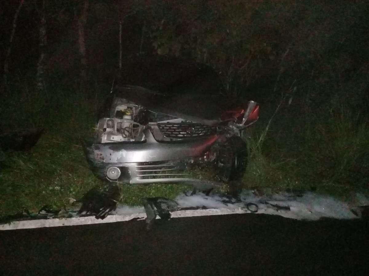 Vista del estado en el que quedó una de los vehículos involucrados en la colisión en Soná. Foto: @BCBRP