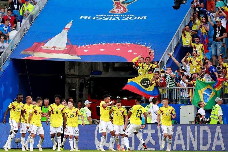 La selección de Colombia clasificó a los octavos de final con récord de dos victorias y una derrota. Foto EFE