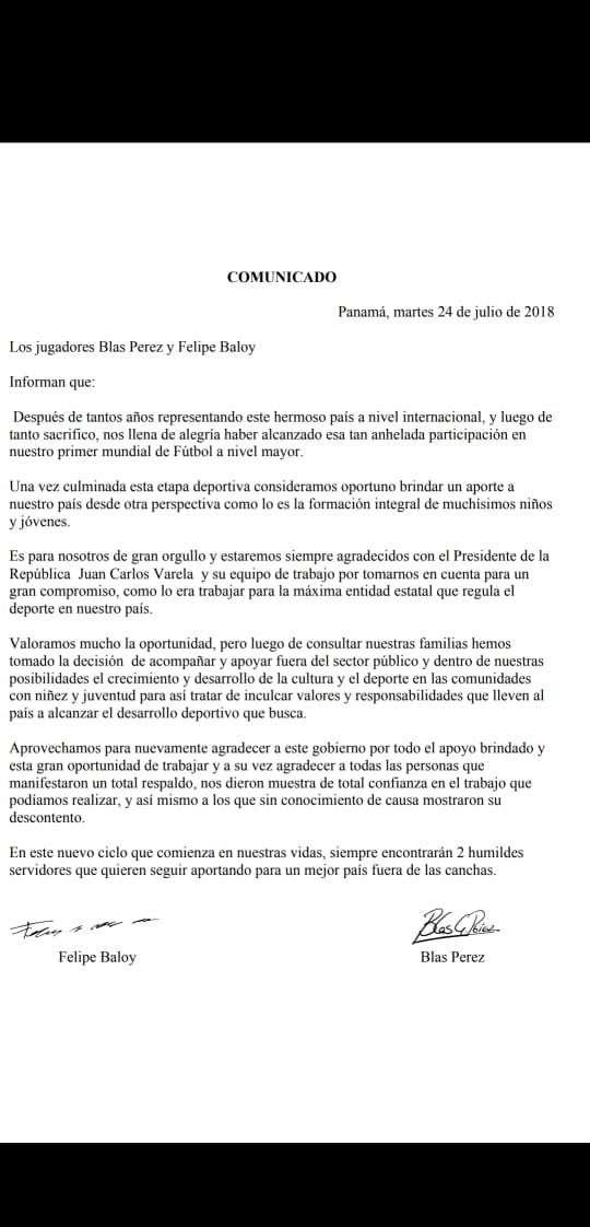 Comunicado de Blas Pérez y Felipe Baloy