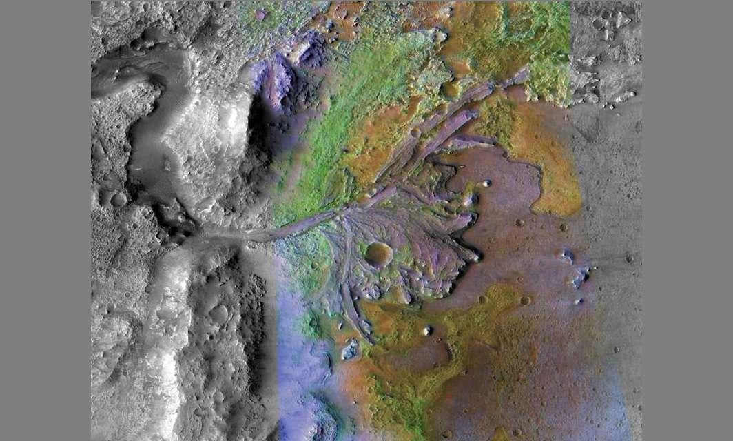 Información del espectrómetro compacto de imágenes de reconocimiento de Marte y la cámara de contexto, donde se muestra el delta del cráter de Jezero, donde los sedimentos contienen arcillas y carbonatos. EFE