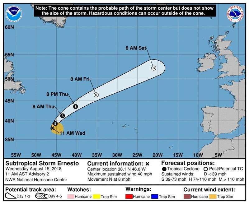 Gráfico del Centro Nacional de Huracanes estadounidense con sede en la Florida donde se muestra la trayectoria de 3 días de la depresión subtropical Ernesto, que se encuentra a 1.105 millas al oeste de las Azores. EFE/ Cortesía NHC-NOAA