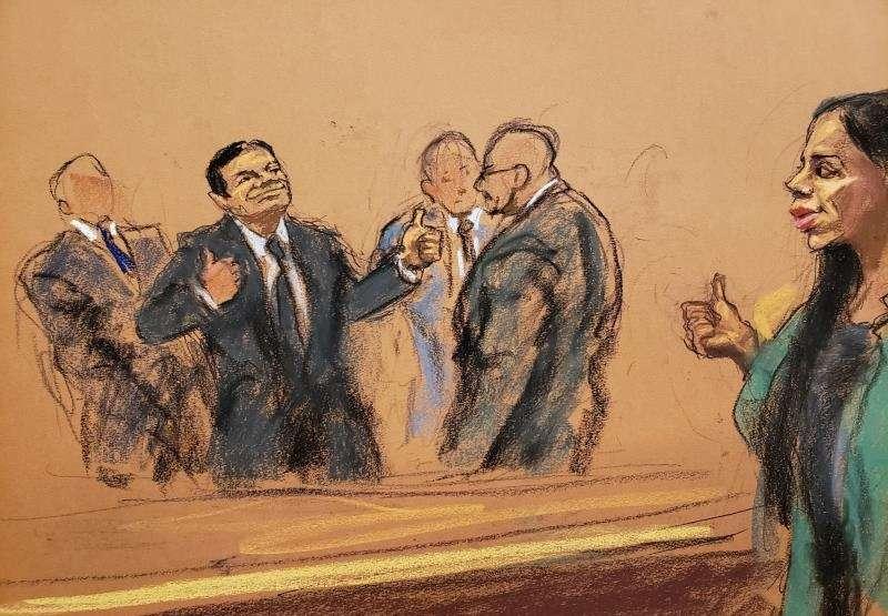Reproducción fotográfica de un dibujo realizado por la artista Jane Rosenberg donde aparece el narcotraficante mexicano Joaquín el Chapo Guzmán (2-i) saludando a su esposa Emma Coronel (d). EFEArchivo