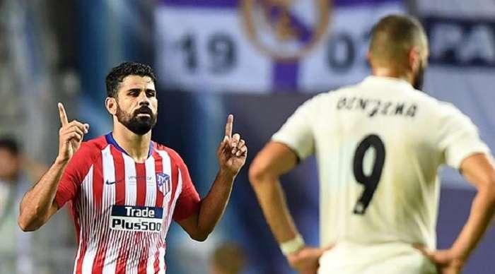 Diego Costa celebra uno de los dos goles anotados en la final de la supercopa Europea./AFP