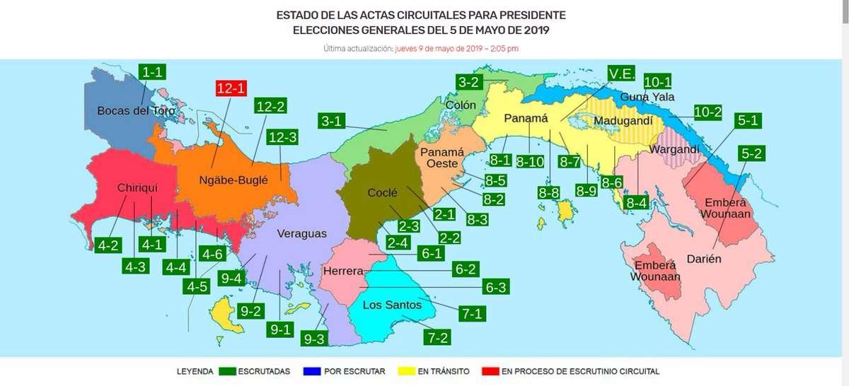 Distribución de las actas circuitales a nivel nacional. Imagen JNC2019