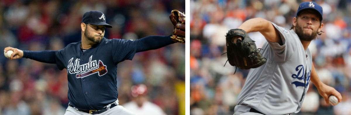 Aníbal Sánchez (izq.) y Clayton Kershaw, abridores de hoy en el juego entre los Bravos de Atlanta y los Dodgers de Los Ángeles. Foto: AP
