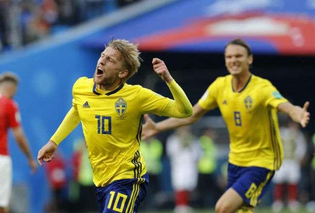Emil Forsberg anotó el gol del triunfo para Suecia. Foto:AP