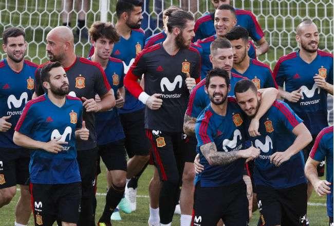 La selección de España se prepara para los octavos de final. Foto: EFE