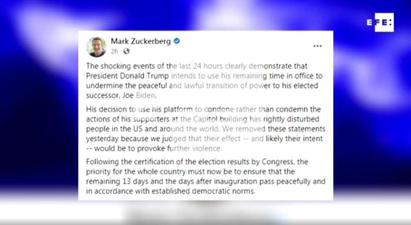 """El consejero delegado de Facebook, Mark Zuckerberg, anunció este jueves el bloqueo """"indefinido"""" . EFE"""