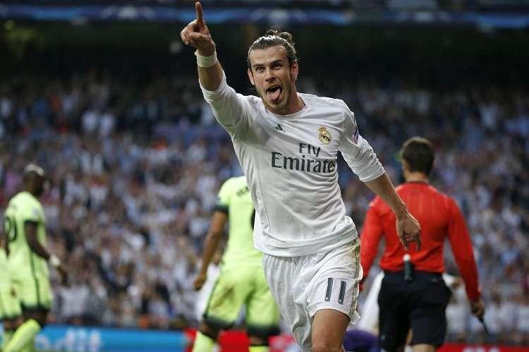 El delantero Gareth Bale celebra su gol con el Real Madrid. Foto: AP
