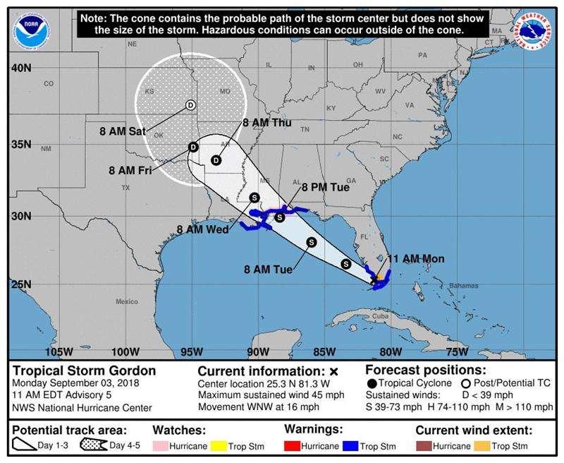 Pronóstico de cinco días del paso de la tormenta tropical Gordon por el Golfo de México. EFE