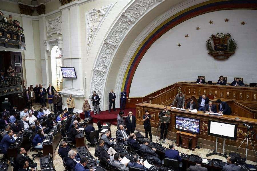 Vista general del hemiciclo de sesiones del Parlamento venezolano. EFE