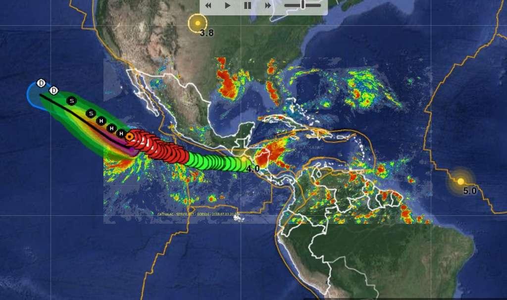 Vista general del modelo de desplazamiento del huracán Fabio. Imagen: servir.net