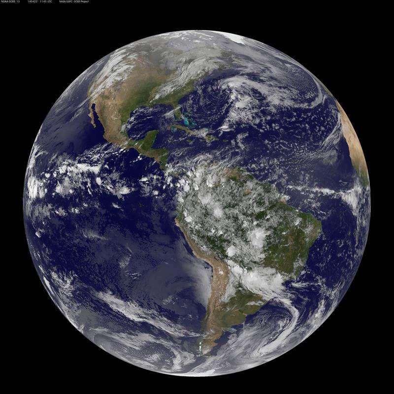 Vista de una imagen de satélite facilitada por la NASA y por la Administración Nacional para el Océano y la Atmósfera de EE.UU. (NOAA) del continente americano. EFEArchivo