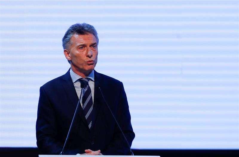 El presidente de Argentina, Mauricio Macri, pronuncia un discurso hoy, jueves 30 de noviembre de 2017, en el centro cultural CCK de Buenos Aires (Argentina). EFE