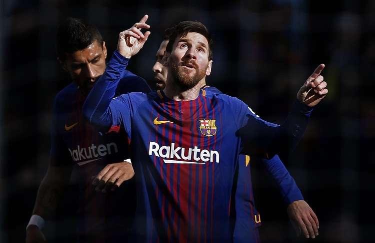 Lionel Messi festeja su anotación ante el Celta. Foto: AP