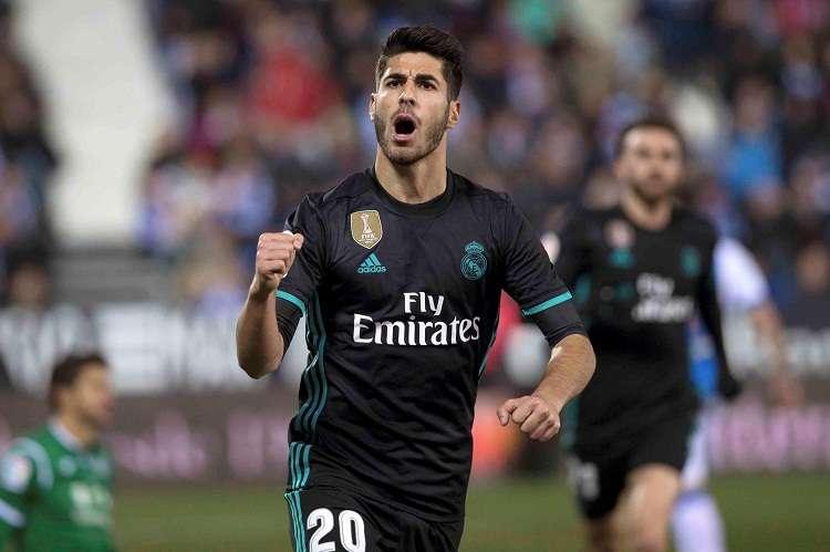 Marco Asensio celebra su gol frente al Leganés. Foto: EFE