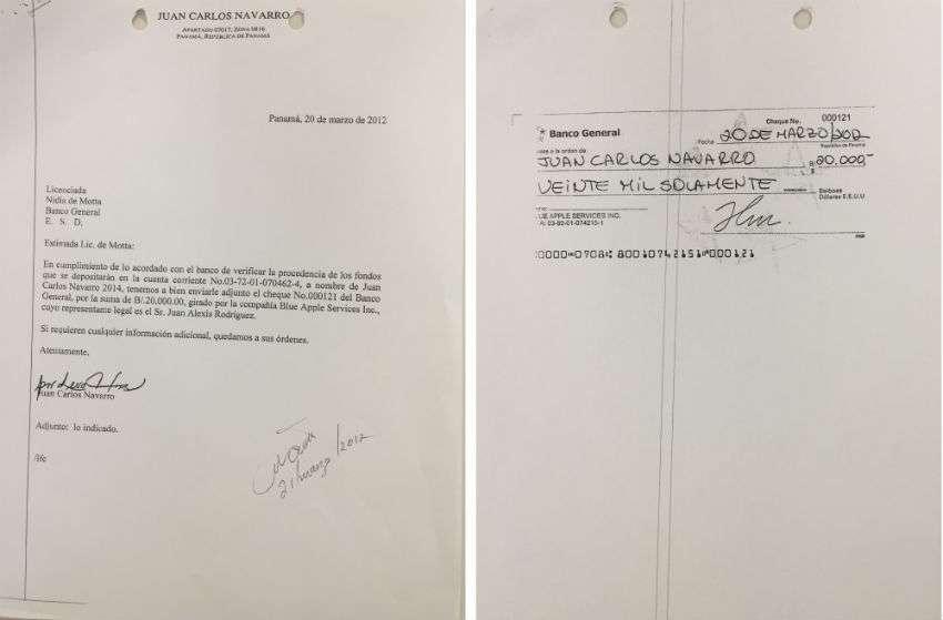Copia del cheque y del respectivo recibo de donación fueron también remitidos al Tribunal.