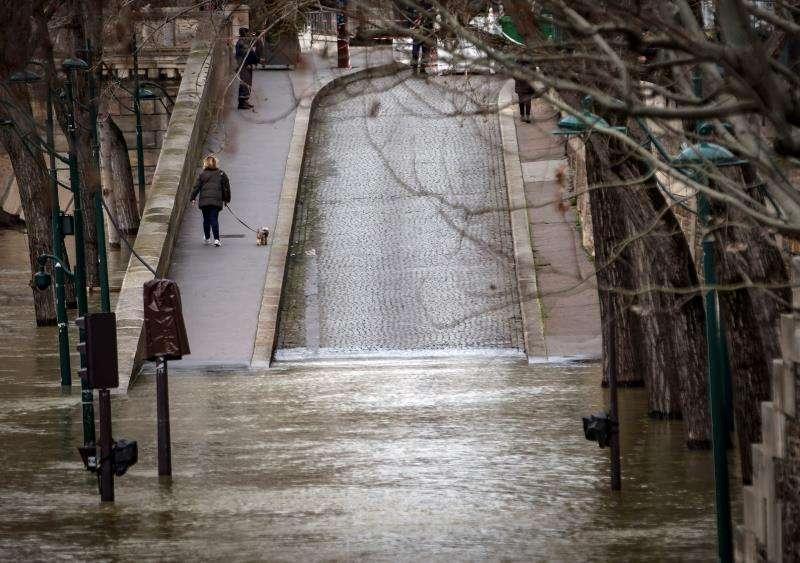 Una mujer pasea a su perro por una calle inundada a orillas del río Sena en París, Francia. EFE