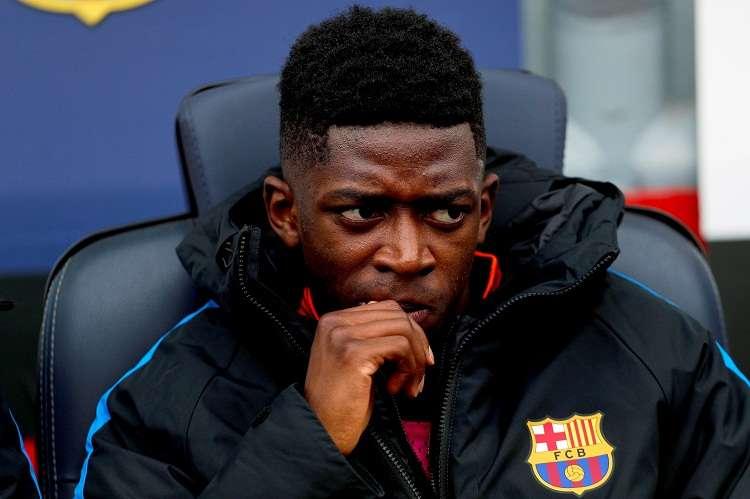 Ousmané Dembélé en el banquillo en el partido ante el Getafe. Foto: EFE