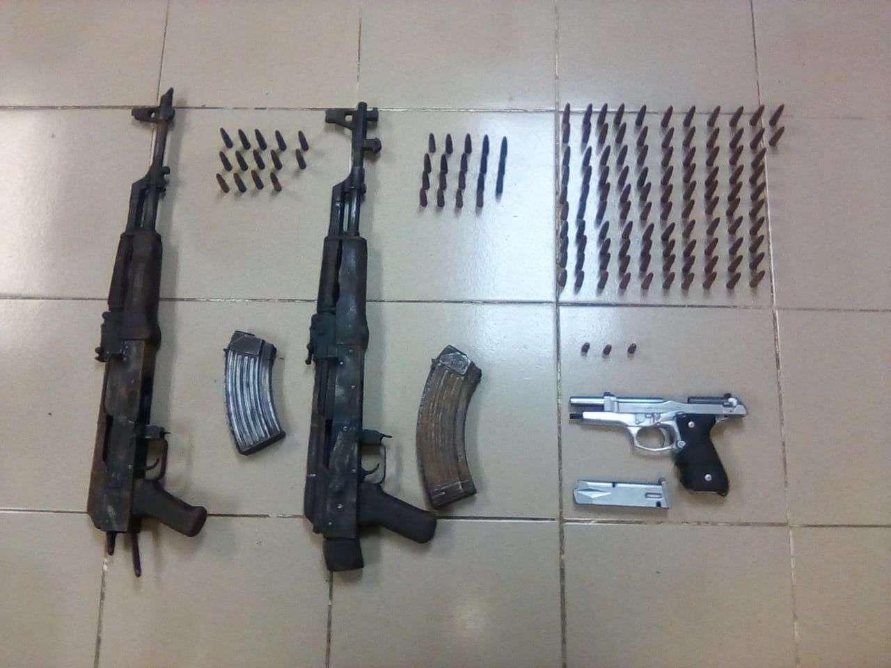 Armas abandonadas por mochileros. Foto/Senafront