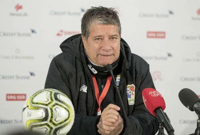 Hernán Darío 'El Bolillo' Gómez durante de la conferencia de prensa tras la derrota ante Suiza.