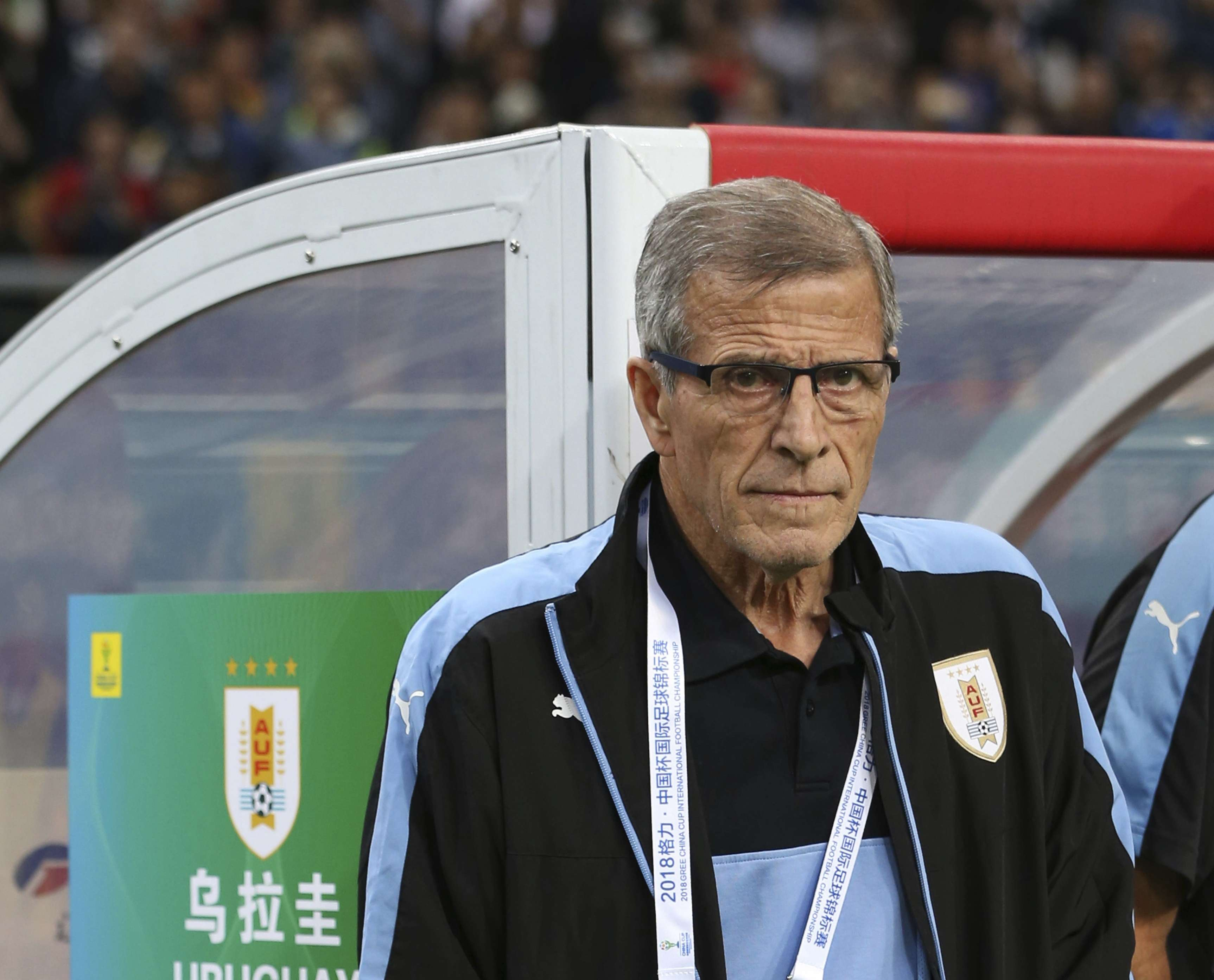 Oscar Washington Tabarez, técnico de Uruguay. /AP