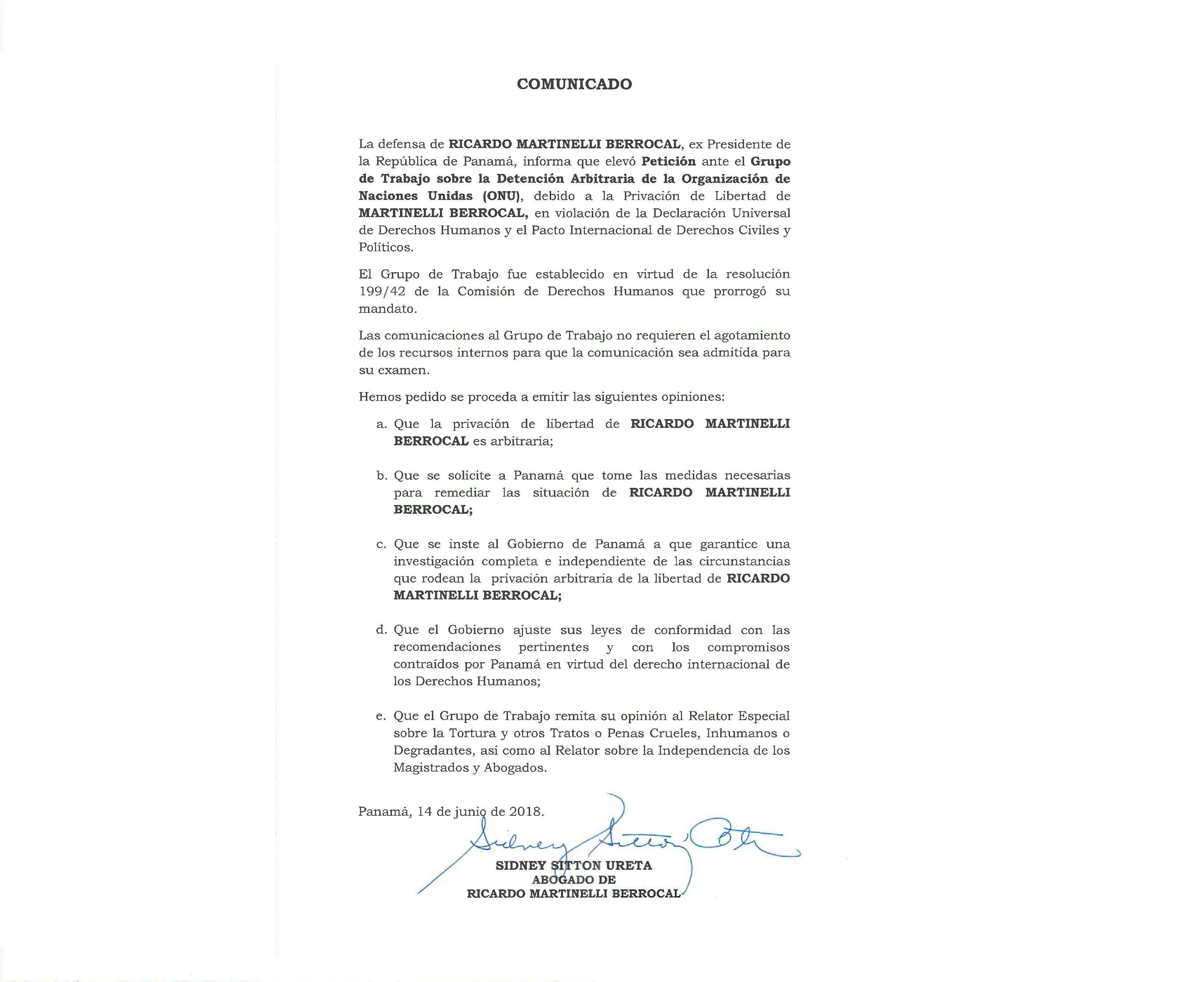 Copia del documento enviado a la ONU.