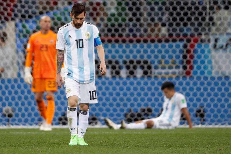 """La Albiceleste cayó este jueves """"a pedazos"""" ante Croacia en la fase de grupos del Mundial de Rusia. Foto EFE"""