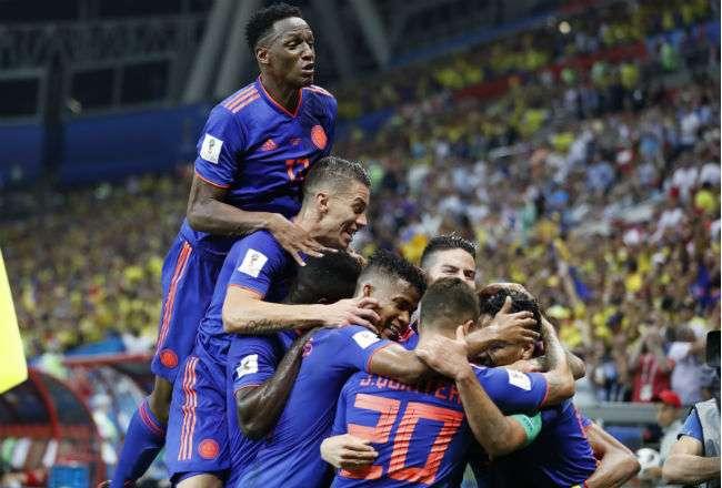 La selección de Colombia celebró mucho esta victoria. Foto:AP