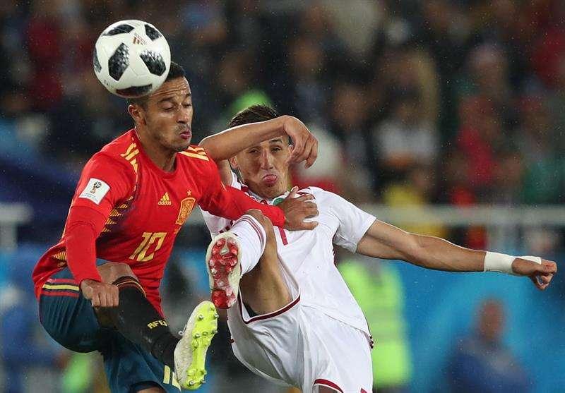 Thiago no quiso responder sobre su futuro, sonando su nombre para el Barcelona y Real Madrid. Foto EFE