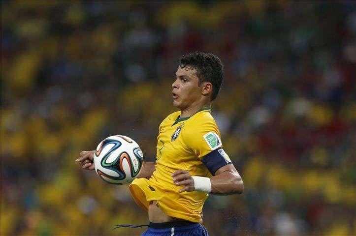 El jugador brasileño Thiago Silva. Foto:EFE