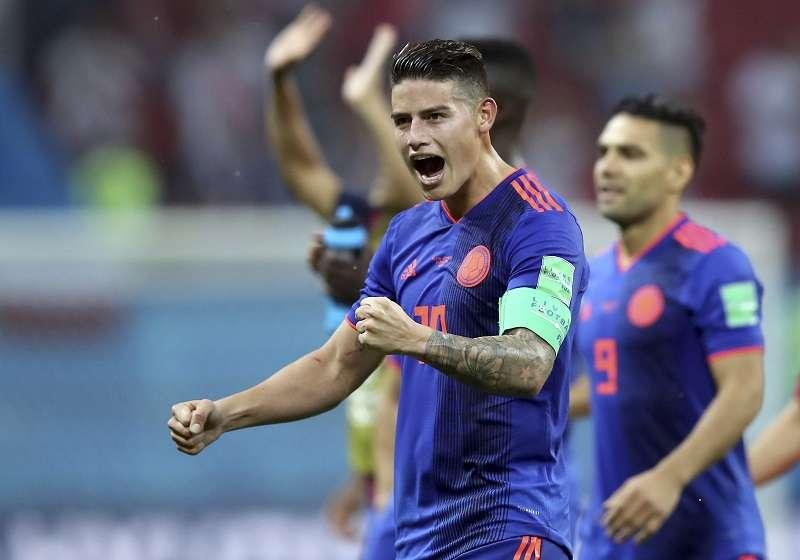 James Rodríguez se lesionó y no pudo jugar para Colombia en los octavos de final. Foto EFE