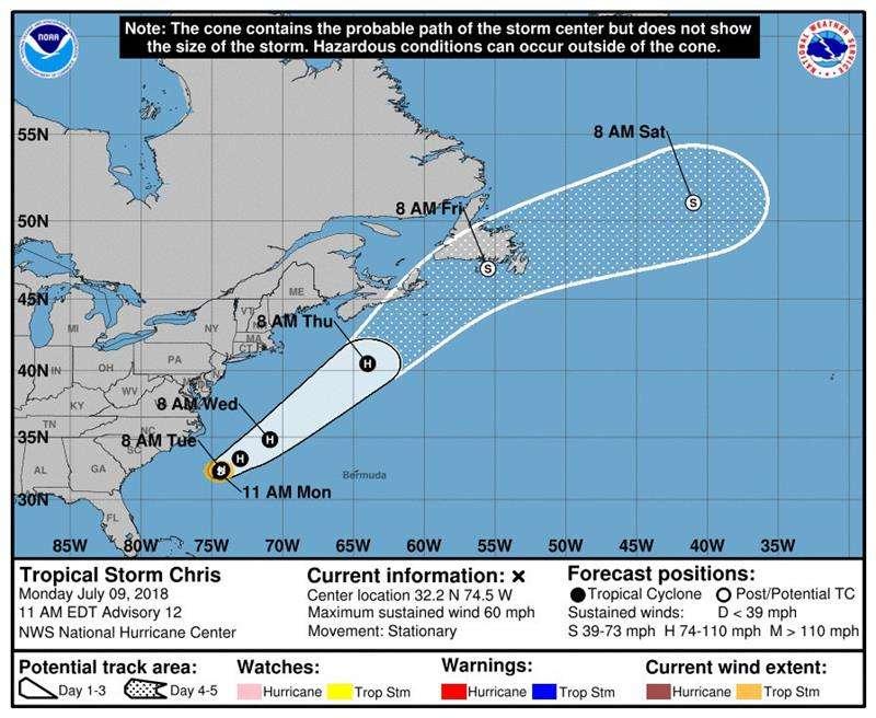 Gráfico cedido por el Centro Nacional de Huracanes (NHC) donde se observan los pronósticos para la tormenta tropical Chris en el Océano Atlántico hoy, lunes 9 de julio de 2018. EFENHC-NOAA
